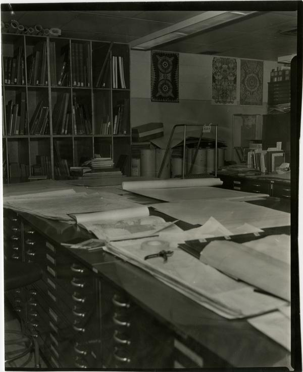 Contact print of overview of Oversized materials room in University Research Library