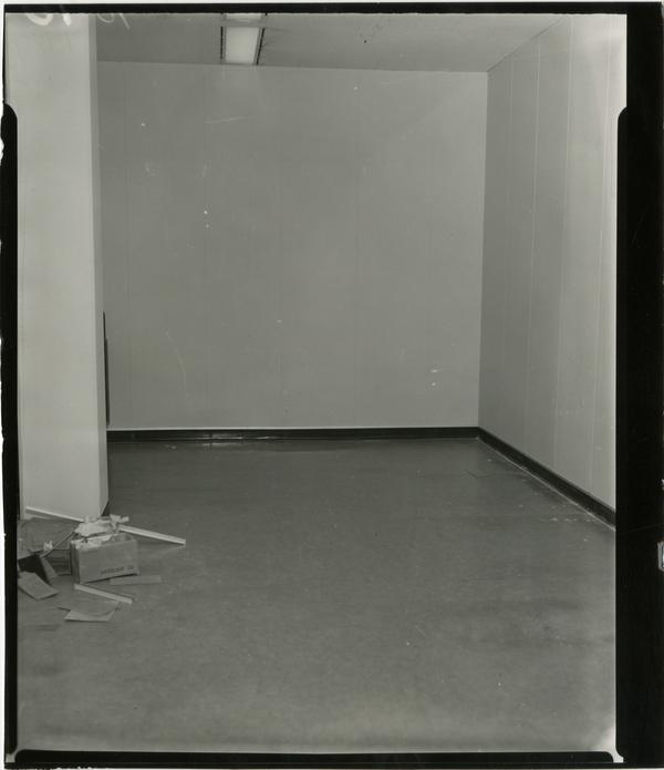Contact print of empty corner during interior remodeling of University Research Library