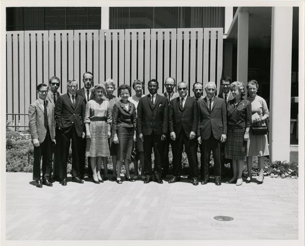 Group portrait of Open House attendees at University Research Library, 1964