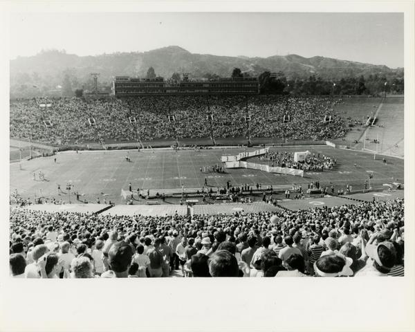 View of football stadium during 1984 game at USC
