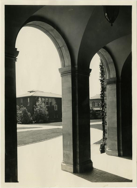 View through building arches of Vermont Ave campus