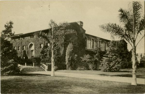 Postcard featuring view of the Girl's Gymnasium on Vermont Ave campus