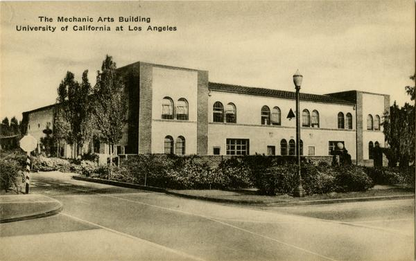 Postcard depicting Mechanical Art Building at Univeristy of California at Los Angeles