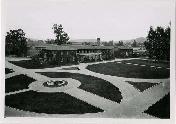 Looking towards Science Hall and Women's Gym across the quad on Vermont Ave campus
