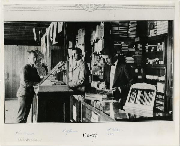 Ralph Alexander, Ray Brown, and Al Knox in the Students' Cooperative Store on Vermont Ave campus, 1923