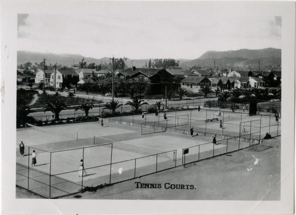View of tennis courts on Vermont Ave campus