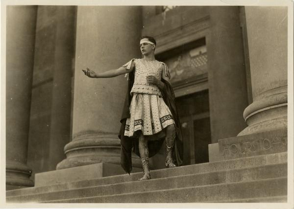 Unidentified student dressed and posing as Agamemnon, 1923