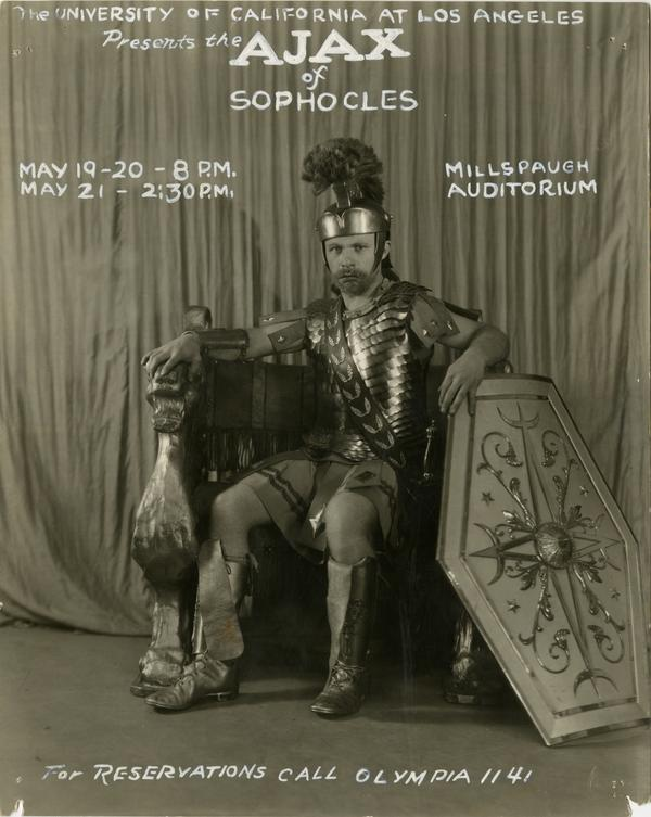 Theatrical advertisement for Ajax of Sophocles in Millspaugh Auditorium on Vermont Ave campus