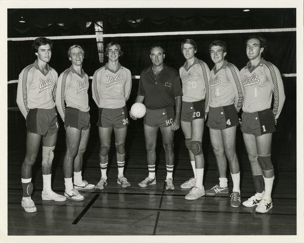 UCLA Men's Volleyball Team with coach, 1982