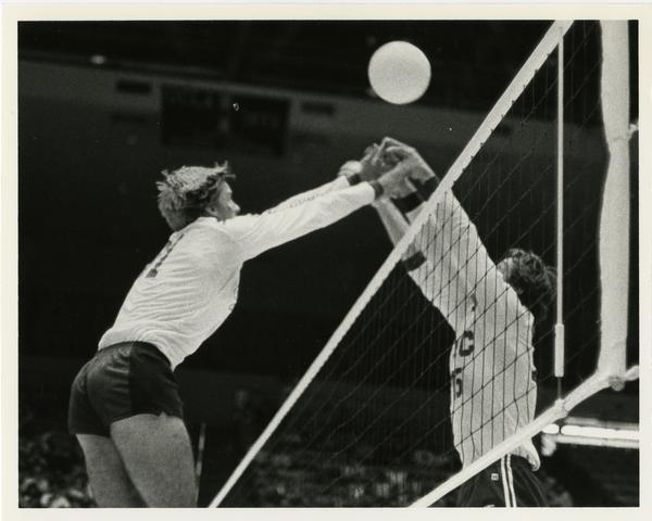 UCLA volleyball team in action during game