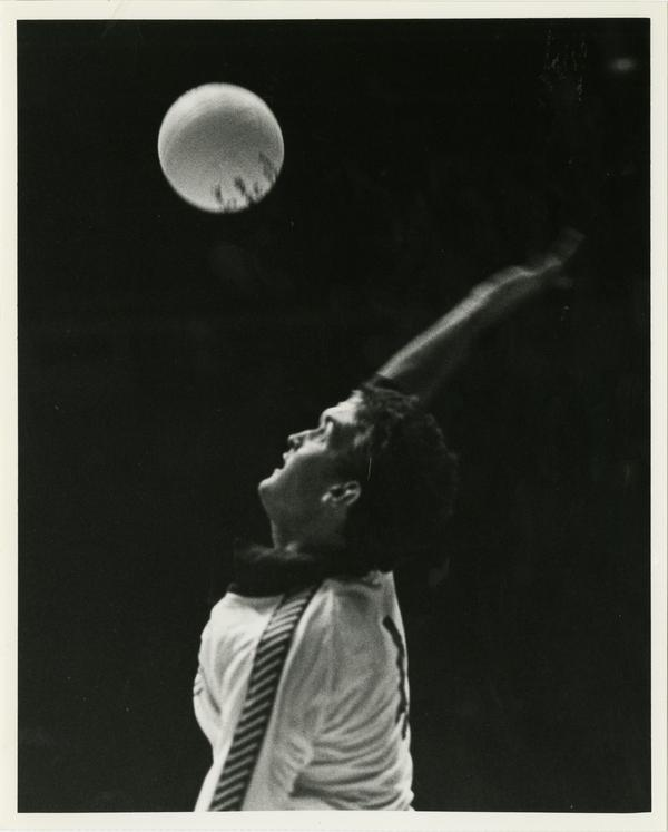 Close up of UCLA volleyball team player about to hit the ball, Dave Saunders