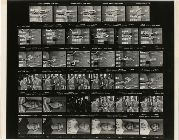 Contact sheet of volleyball team in practice, 1978