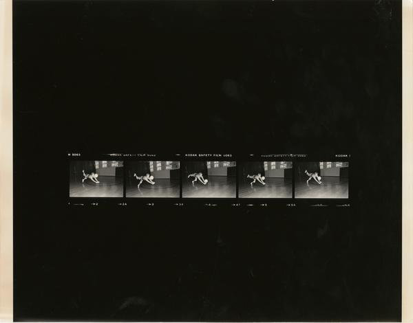 Contact sheet row of volleyball team player diving for the ball, 1978