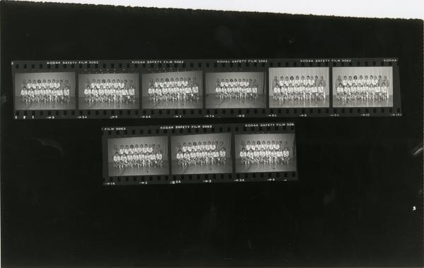Partial contact sheet of volleyball team portraits