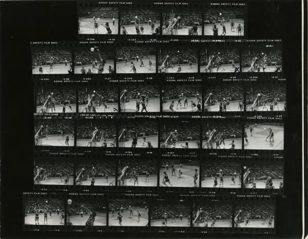 Contact sheet of volleyball game, April 1979