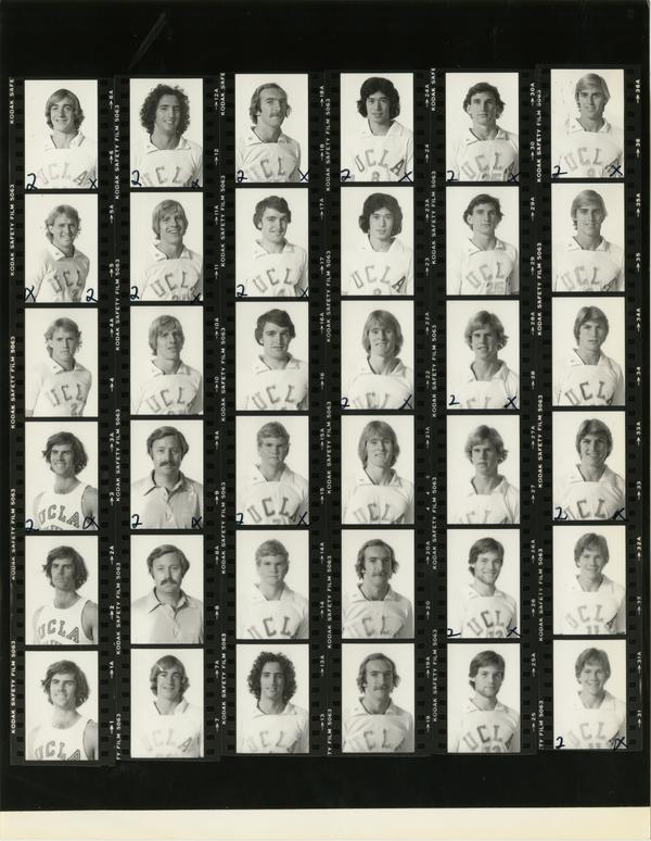 Contact sheet of volleyball team headshots and group shots, 1979