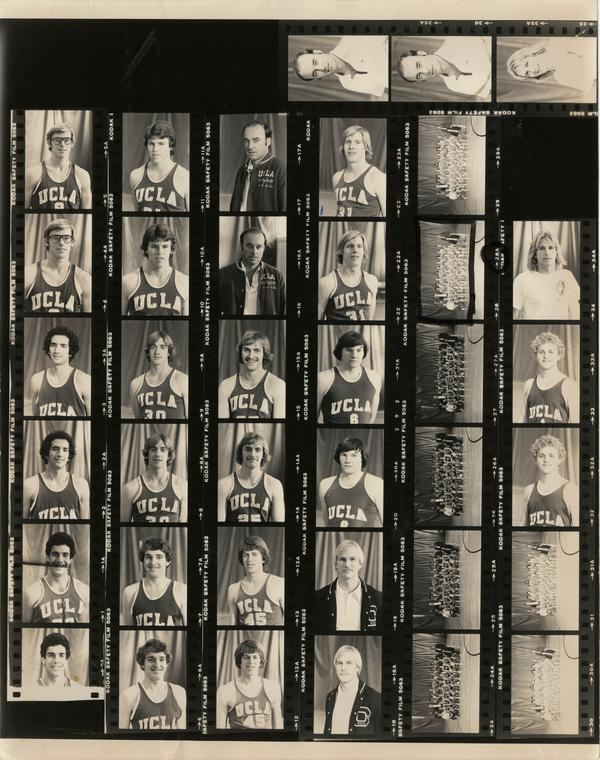 Contact sheet of volleyball team headshots and group shots, January 1979