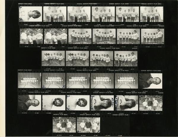 Contact sheet of volleyball team headshots and group shots, November 1979