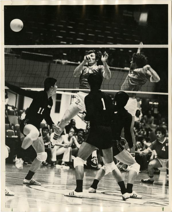 Action shot of volleyball team during a game