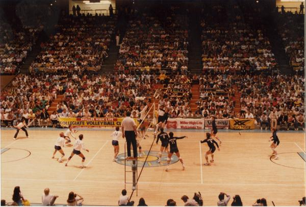 Looking at UCLA v Pepperdine volleyball game in progress from the stands, 1983