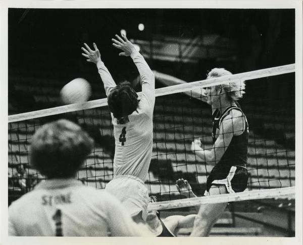 UCLA Volleyball player, Doug Rabe, hitting ball