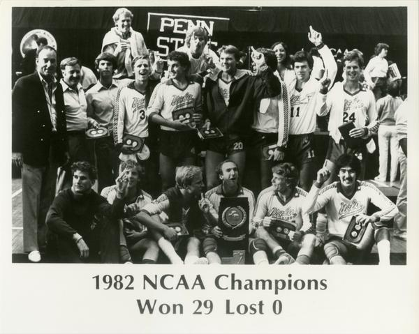 Portrait of 1982 NCAA championship volleyball team