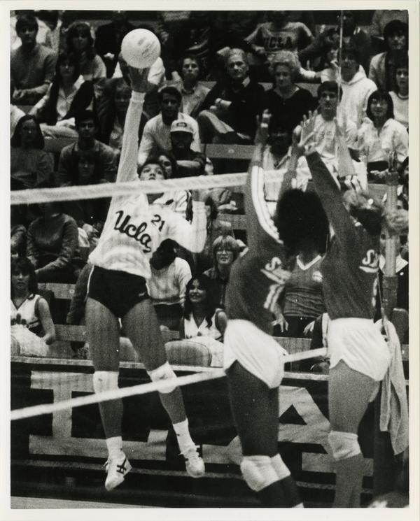 UCLA women's volleyball player, Liz Masakayan, hitting bowl, ca. 1983