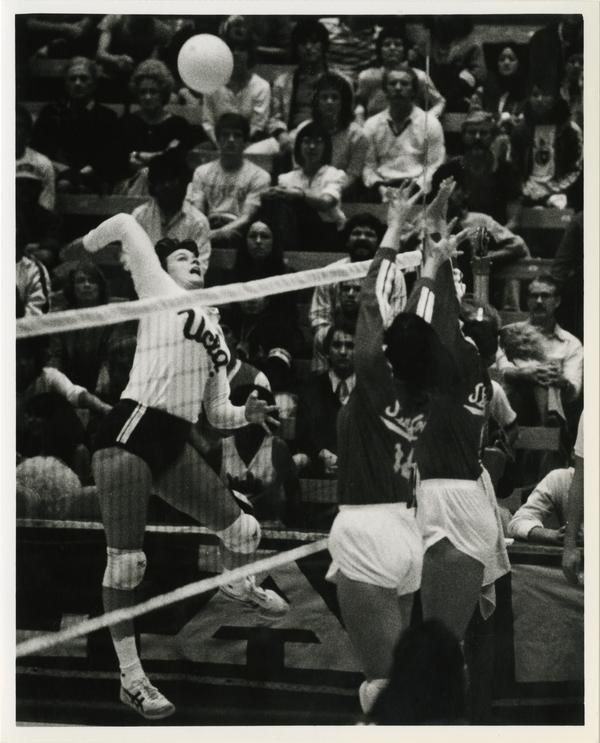 UCLA women's volleyball player, Michelle Boyette, during match, ca. 1983