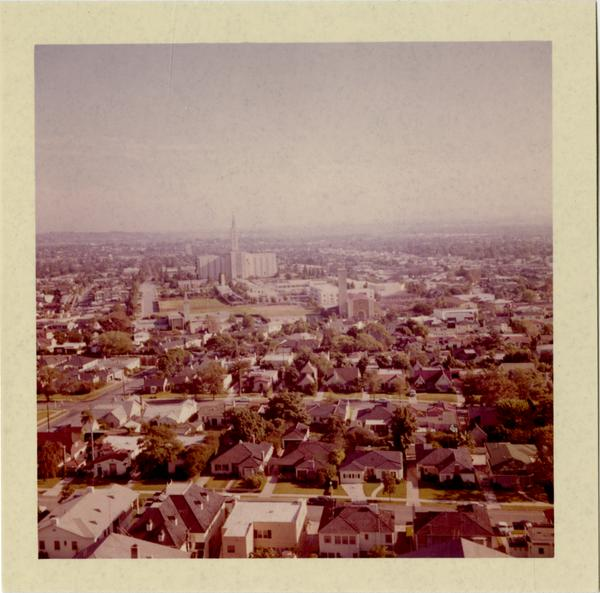 View of West Los Angeles and Mormon Temple, ca. 1964