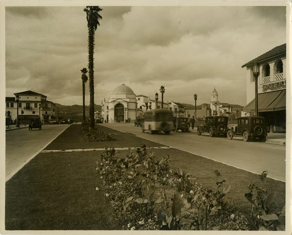 View down Westwood Blvd and of Westwood Village dome, Janns Investment Corporation, ca. 1929
