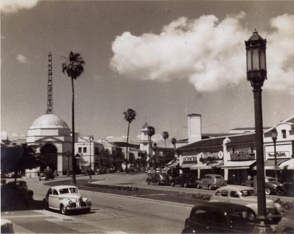 View down Westwood Blvd and of Westwood Village dome, ca. 1940s