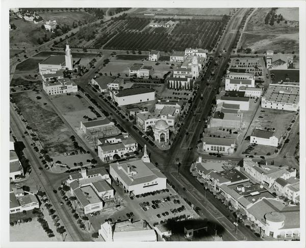 Aerial view of Westwood Village, February 11, 1936