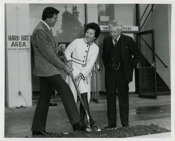 Dr. Charles E Young, Mrs Franklin D Murphy, and Frederick S. Wight at Art Gallery groundbreaking, February 12, 1973