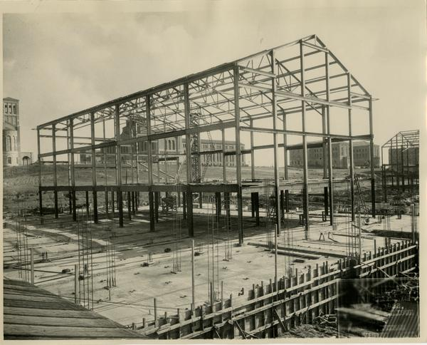 View of Steel frame of Women's Gymnasium, January 1, 1932