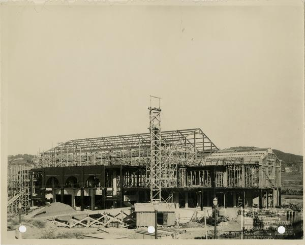 Looking northwest at Women's Gymnasium during construction, February 27, 1932