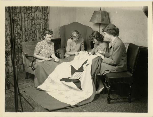 Virginia Lindsay Dorothy Raybourn Blanche Young Betty Dobbs sewing service flag