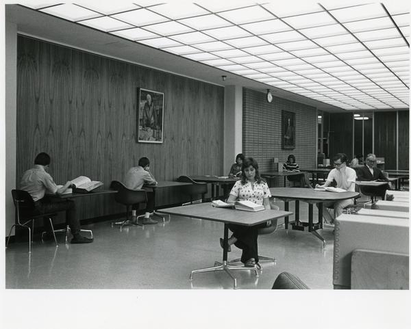Students seated at different desks in the Special Collections reading room