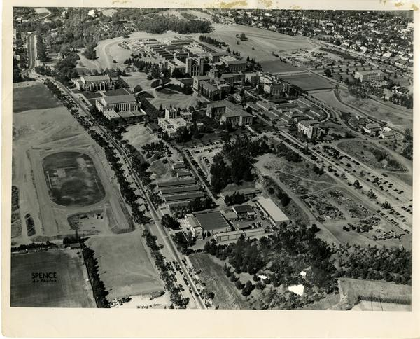 Aerial view of UCLA campus with barracks, August 1947