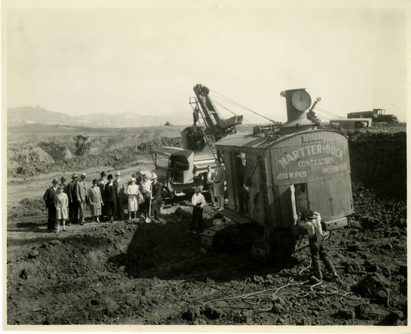 Regent Dickson officiating with spade at Campus Groundbreaking celebration, October 1926