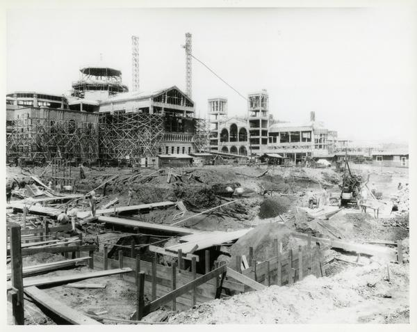 Powell Library and Royce Hall construction as seen from the future site of Kinsey Hall, 1928