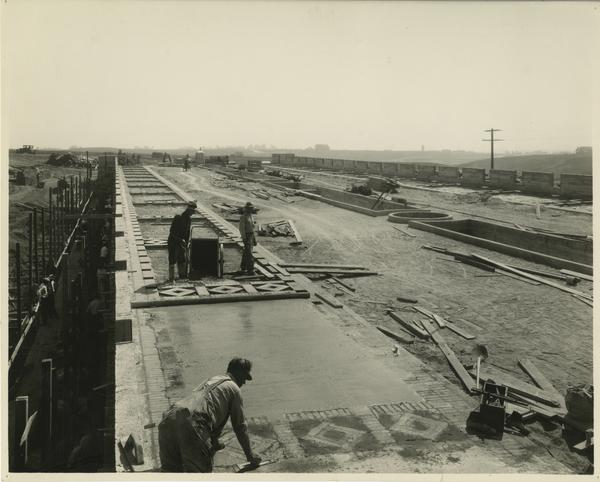 Dickson Bridge paving during campus construction, ca. 1928
