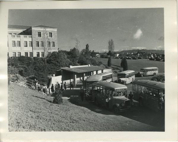 View of Hilgard-Strathmore Bus Stop, 1949