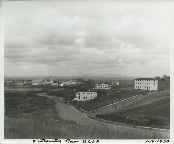 View of UCLA Fraternity Row, 1930