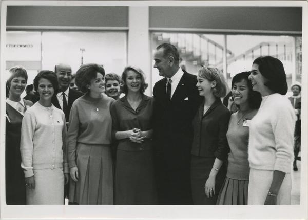 Lyndon Johnson and Clark Kerr with Bruin Belles on Charter Day, 1964