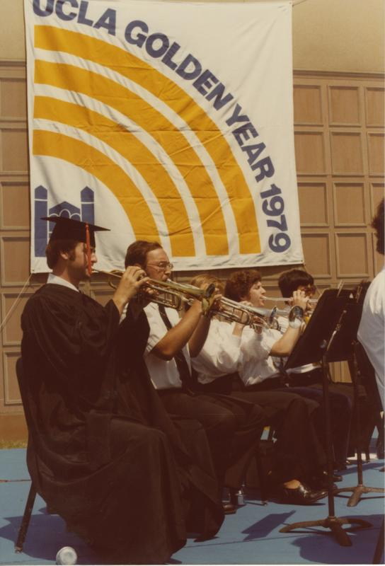 Trumpeters play at Commencement, 1979