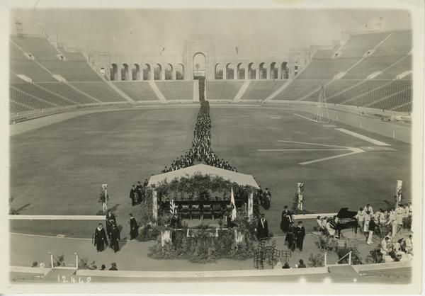 Graduates file into Coliseum at the beginning of Commencement, 1940