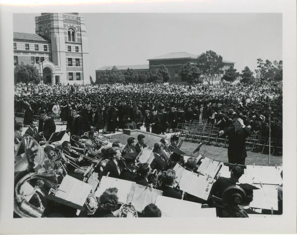 Orchestra and conductor at Commencement ceremony, 1953