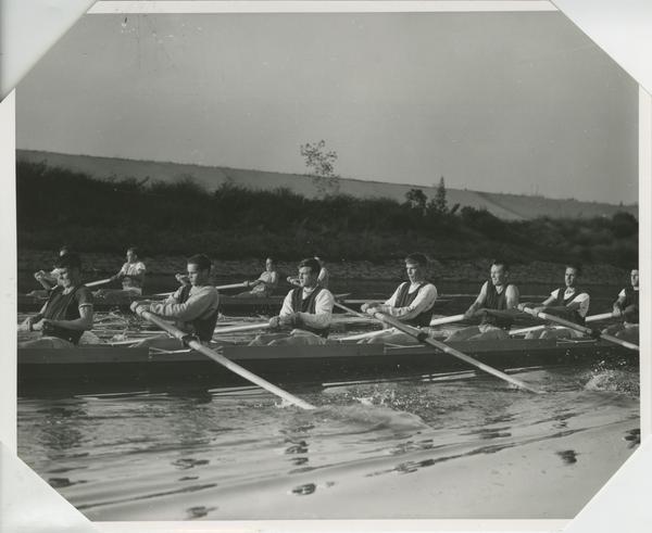 UCLA Men's Crew team practice at Ballona Creek course, 1964