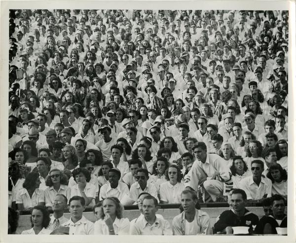 View of crowd seated in amphitheater, 1946