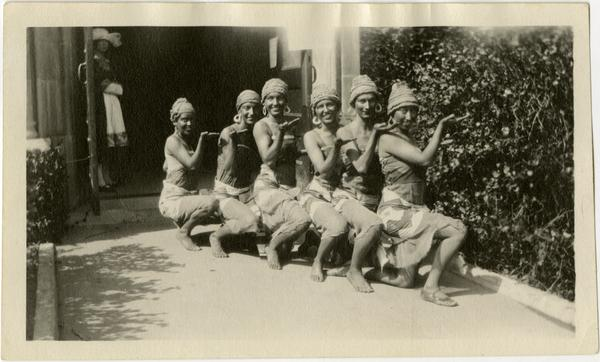 Six women in costume for Greek Drama on Vermon Campus, ca. 1924